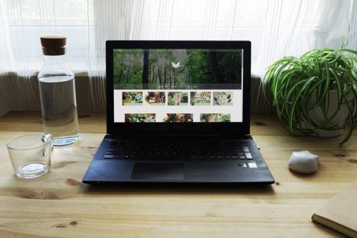 Laptop na biurku, po jeden stronie woda z kubkiem, po drugiej myszka i roślina. Na laptopie strona meivy.pl